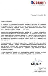 carta recomendacion quaptalis consultoria DASEIN